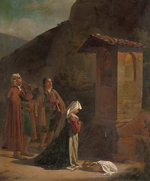 Musicians by a roadside chapel