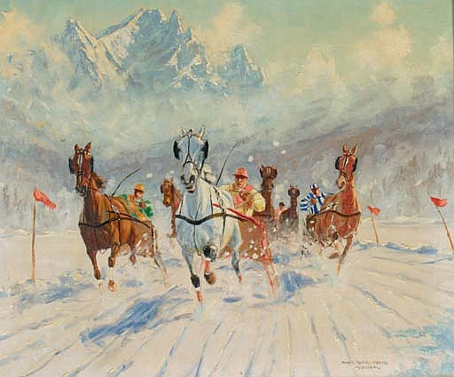A horserace in the mountains