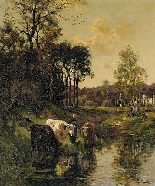 Watering cows by a forest