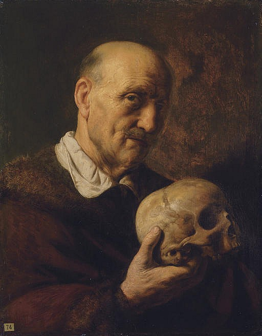 A  vanitas : An old man, half-length, in a fur-lined coat, holding a skull