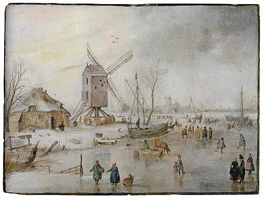 A winter landscape with figures on a frozen river near a windmill