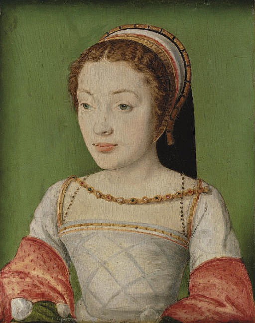 Portrait of Renée de France (1510-1574), bust-length, in a white dress with red sleeves, with a jewelled necklace and a head-dress