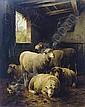 Sheep in a barn, Cornelis van Leemputten, Click for value