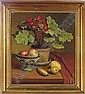 Still life of a pot of primula and fruit on a table, Axel Johansen, Click for value