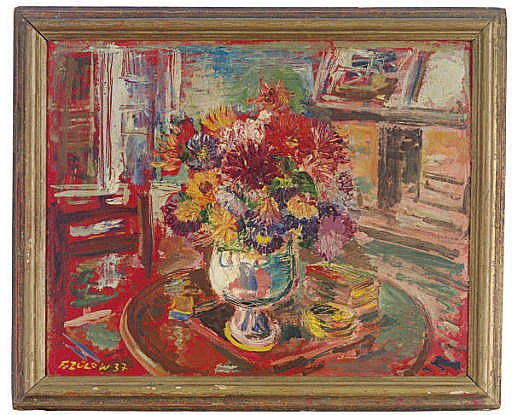 Herbst Blumen: Still life of a vase of flowers on a table in an interior setting