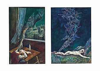 Ramon Lopez Morello (Spain, b. 1903) Allegories of dreaming (two works)