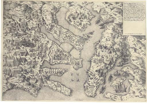 LAFRERI, Antonio (1512-1577). <I>Ultimo disegro delli forti di Malta</I>. [Valletta Harbour].