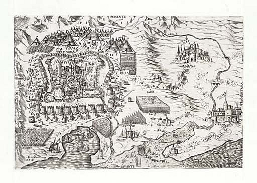 FRANCE, Perpignan -- VICO, Enea (1523-1567).  Perpignan & Carcasona . [Rome or Venice], 1542. Engraved view of the siege of Perpignan. Trimmed and inlaid in original mount, 222 x 332mm. Tooley (1939) 445.
