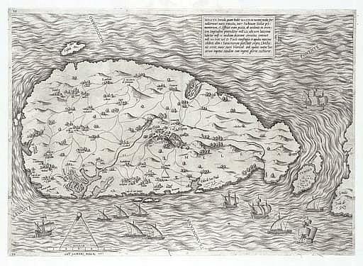 MALTA - LAFRERI, Antonio (c. 1512-1577).  Melita insula, quam hodiae Maltam uocant . 1551. Engraved map of Malta. Trimmed and inlaid in original mount (lightly dampstained at top), 333 x 464mm. Tooley (1939) 373.