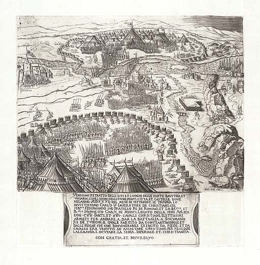 AUSTRIA, Siege of Vienna -- SALAMANCA, Antonio (?1478-1562). Verissimo retratto delli siti et luoghi delle parte d'Austria ... . [Rome or Venice, c. 1550]. Fine engraved view of Vienna being besieged by the Turks and succoured by Charles V army.