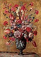 Tulips, carnations, roses, anemones, gladioli, lilac, morning glory and other flowers in a sculpted urn, on a tabletop, Mario Nuzzi, Click for value