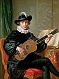Portrait of Monsieur Aublet, three-quarter-length, seated, in a black fancy costume and playing a five-course guitar, a sheet of music on a table beside him