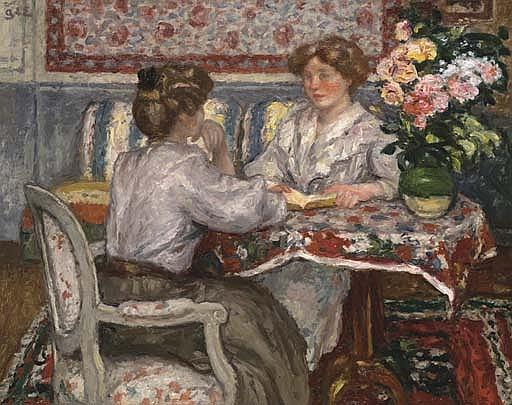 Deux jeunes filles assises