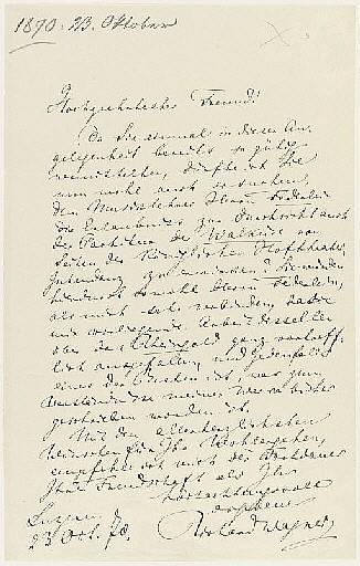 WAGNER, Richard (1813-1883). Series of 15 autograph letters signed ('Richard Wagner') to an unidentified recipient [Hofrat Lorenz von Düfflipp, Kabinettsekretär to King Ludwig II of Bavaria], Luzern, Bayreuth, Munich and n.p., 13 March 1869 -