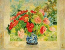 LE PHO (1907-2001) Les Anthuriums (Anthuriums) oil on canvas 114 x 147 cm.