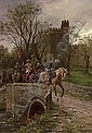 Cromwellian soldiers leaving Warwick Castle, Ernest Crofts, Click for value