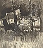 Two horses grazing in the meadow, Richard Carline, Click for value
