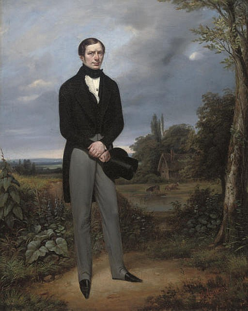 Portrait of a gentleman, full-length, in a morning suit holding a top hat in his right hand, a river landscape with cattle beyond