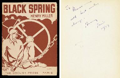 MILLER, Henry (1891-1980). Black Spring. Paris: Obelisk Press, [1936].