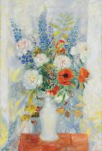 LE PHO (1907-2001) Fleurs (Flowers) oil on canvas 130.5 x 89 cm. (51 3/8 x