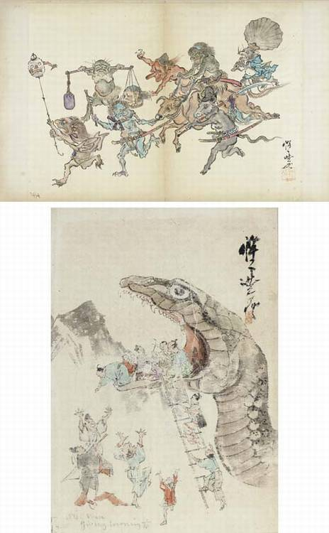 Kawanabe Kyosai (1831-1889) and others