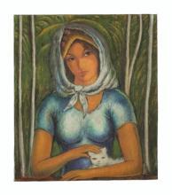 Victor Manuel (1897-1969) - Muchacha con gato blanco