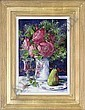 Roses in a white vase with a glass of wine and a pear to the side, on a table, Mary Gallagher, Click for value