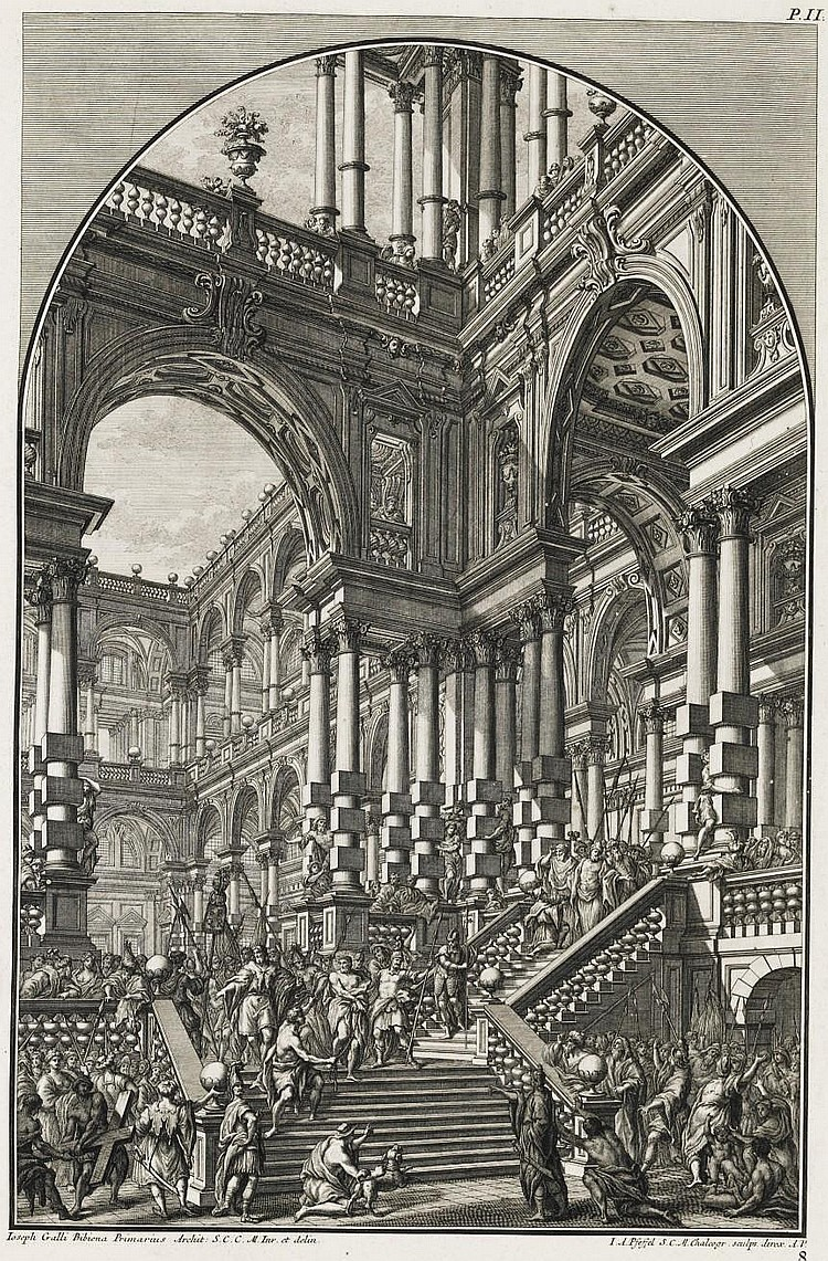 VIENNA 1740 -- BIBIENA, Giuseppe Galli da (1696-1757).  Architetture, e prospettive, dedicate alla Maest di Carlo Sesto . Augsburg: Andreas Pfeffel, 1740[-1744].