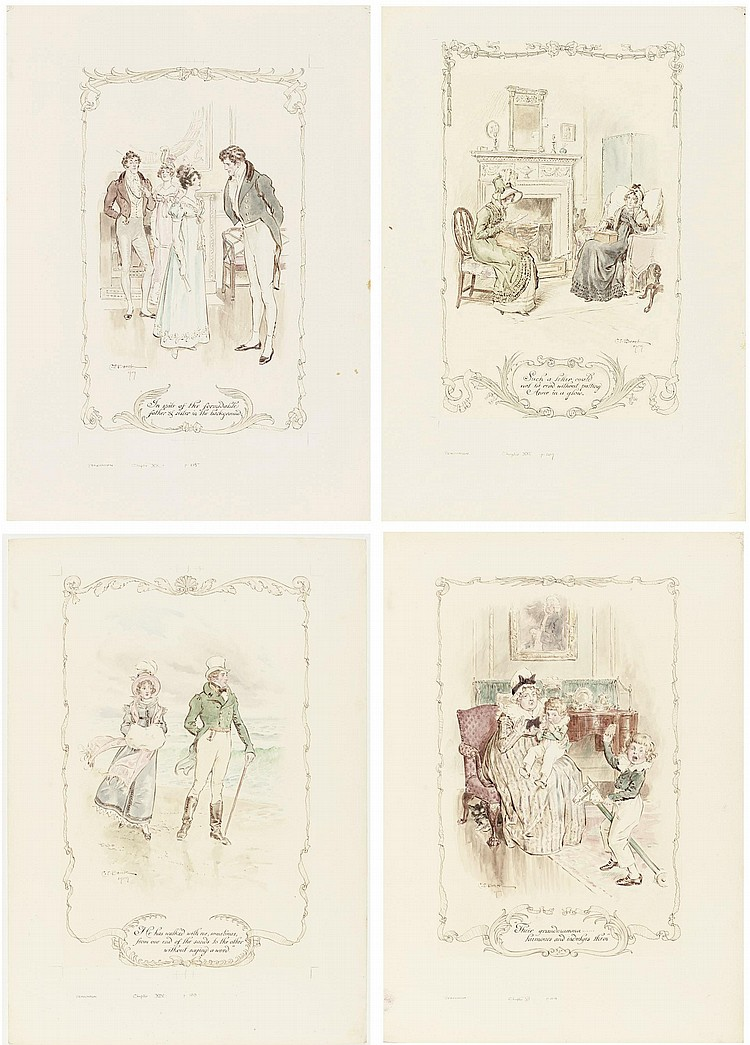 BROCK, Charles Edmund, R.I. (1870-1938). A series of fine ink and watercolour drawings for Jane Austen's  Persuasion , 1909.
