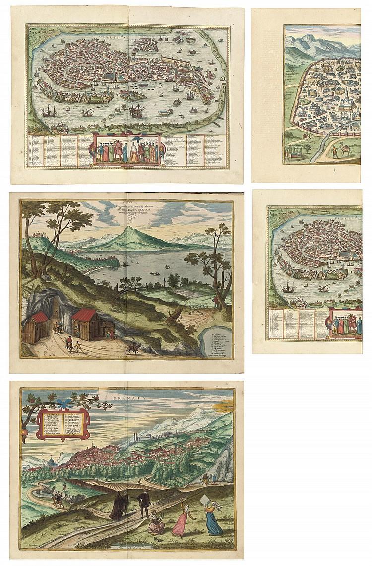 BRAUN, Georg (1541-1622) and HOGENBERG, Franz (c.1538-1590).  Civitates orbis terrarum . Cologne: P. von Brachel, 1618-1625.