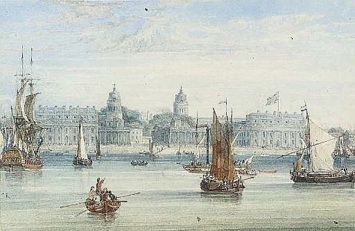 A frigate, an excursion steamer and barges on the Thames before Greenwich Hospital