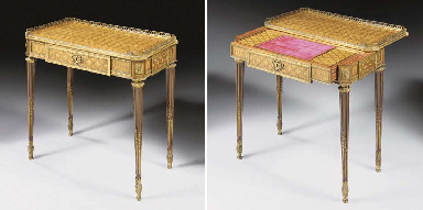 A LOUIS XVI ORMOLU-MOUNTED TULIPWOOD, AMARANTH, SYCAMORE AND FLORAL- PARQUETRY TABLE A ECRIRE