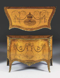 A GEORGE III ORMOLU-MOUNTED SATINWOOD, ROSEWOOD AND MARQUETRY SERPENTINE COMMODE