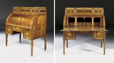 A GERMAN ORMOLU-MOUNTED AND BRASS-INLAID HAREWOOD, STAINED BURR-YEW AND TULIPWOOD MECHANICAL CYLINDER BUREAU