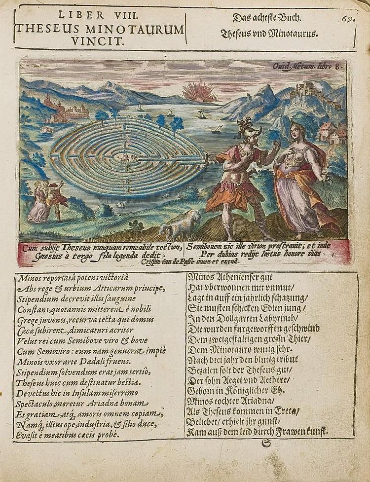 [EMBLEMATA] -- PASSE, Crispin de (1564-1637). Ovidii Nasonis XV Metamorphoseon librorum figurae, elegantissime, a Crispiano Passaeo laminis aeneis incisae. Quibus subiuncta sunt epigramata latine ac germanice conscripta autore Guilhelmo