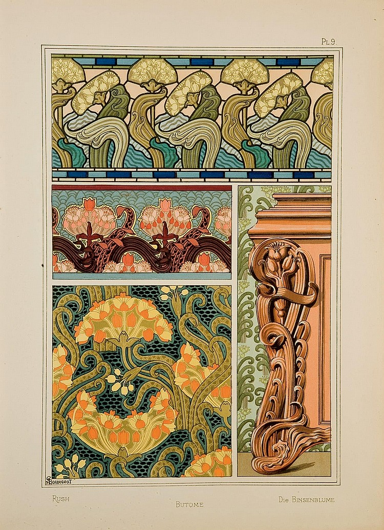 [ART NOUVEAU] -- GRASSET, Eugène (1841-1917).  La Plante et ses applications ornementales. Sous la direction de M. Eugène Grasset  [Première et deuxième séries]. Bruxelles: E. Lyon-Claesen, s.d. et Paris: E. Lévy; s.d. [1896].