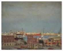 Pedro Moreno-Meyerhoff (né en 1954) El Puerto IV huile sur panneau 119 x 15