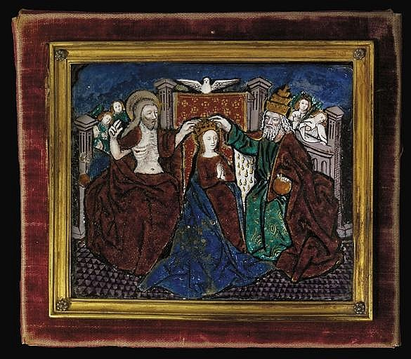 A RECTANGULAR ENAMEL PLAQUE OF THE CORONATION OF THE VIRGIN