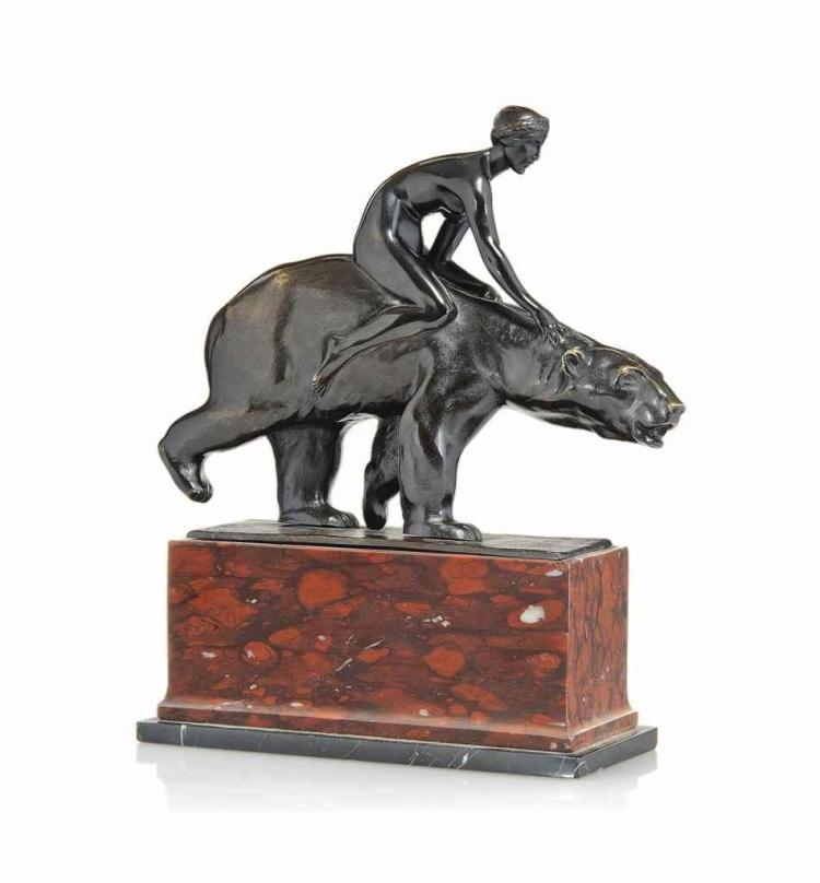 'GIRL RIDING A BEAR', A BERTHOLD NEBEL (1889-1964) PATINATED BRONZE GROUP