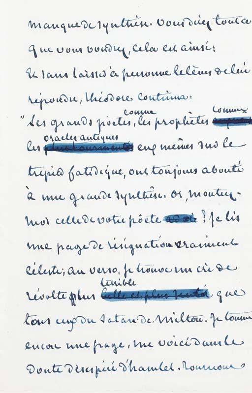 SAND, George (1804-1876). <I>Autour de la table</I>. Juin à octobre 1856. Manuscrit autographe