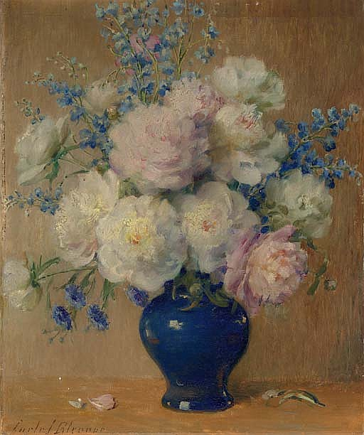 Still Life with Peonies, Delphinium and Aster