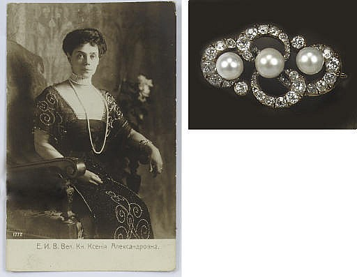 AN ANTIQUE RUSSIAN NATURAL PEARL AND DIAMOND BROOCH, BY FRIEDERICH KÖCHLI