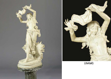 An Italian white marble figure of a young female dancer entitled 'Danzatrice Esotica'; on a mrble pedestal