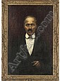 Portrait of a gentleman, half-length, in a black suit, white shirt and chequered bow tie, Cesare Saccaggi, Click for value