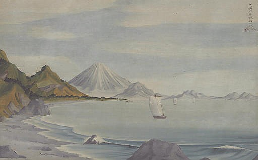 Distant view of Mounts Fuji and Satta from Suruga Bay