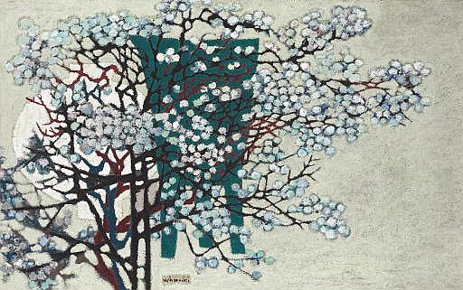 Untitled (White porcelain jar and plum tree)