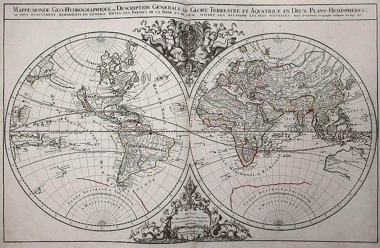 JAILLOT, Charles Hubert Alexis (1632-1712) & SANSON, Nicolas (1600-1667).  Atlas nouveau contenant toutes les parties du monde.  Paris: Hubert Jaillot, 1689.