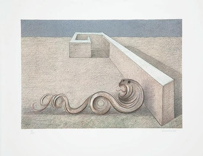 SUBIRACHS, Josep Maria (né en 1927).  La Grande Muraille . Lithographie originale en couleurs sur papier vélin (540 x 702 mm), tirée en 2005 mais non datée, signée au crayon et justifiée 11/135. BELLE ÉPREUVE D'UNE GRANDE FRAÎCHEUR.