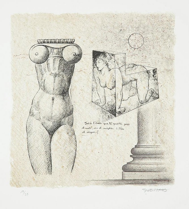 SUBIRACHS, Josep Maria (né en 1927).  Sphinx et Ionique . Lithographie originale en couleurs sur papier vélin (655 x 505 mm), tirée en 2001 mais non datée, signée au crayon et justifiée 13/25. BELLE ÉPREUVE D'UNE GRANDE FRAÎCHEUR.