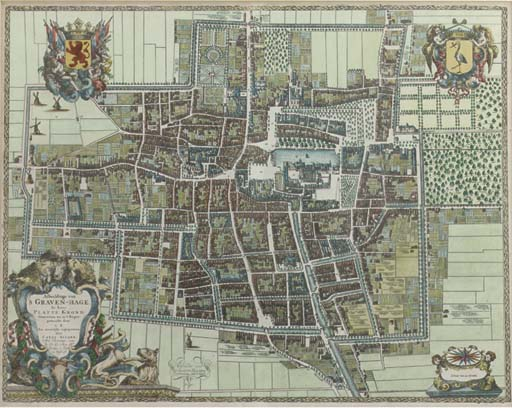 CAREL ALLARD (1648-1709), A HAND COLOURED ENGRAVED MAP OF THE HAGUE